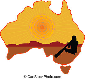 Australia Aboriginal - A stylized map of Australia with a...