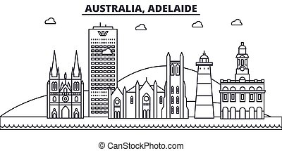 Australia, Adelaide architecture line skyline illustration....