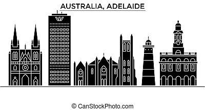 Australia, Adelaide architecture vector city skyline, travel...