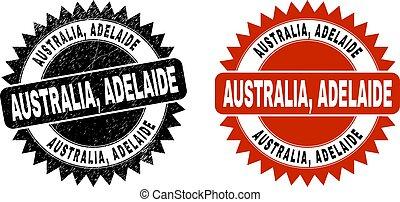 AUSTRALIA, ADELAIDE Black Rosette Stamp with Grunge Style