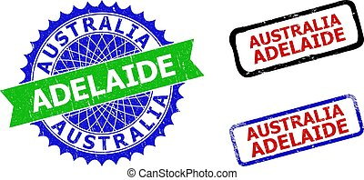 AUSTRALIA ADELAIDE Rosette and Rectangle Bicolor Seals with Unclean Textures