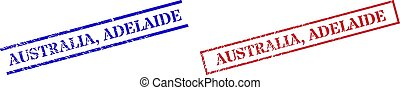 AUSTRALIA, ADELAIDE Textured Scratched Stamp Seals with Rectangle Frame