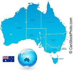australia, administracyjny, mapa, komplet