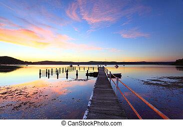 australia, agua, yattalunga, ocaso, reflexiones, colorido