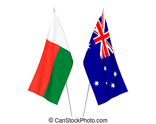 Australia and Madagascar flags - National fabric flags of ...