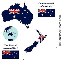 Australia and New Zealand Map Flag - Flags of the Oceania...