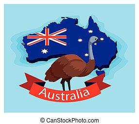 australia, animal, australiano, emu, mapa