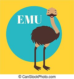 australia animals relate - australia animal cute emu sticker...