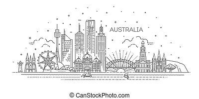 Australia architecture line skyline illustration. Linear vector cityscape with famous landmarks