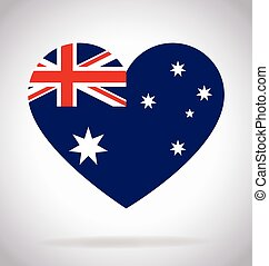 Australia Aussie flag in love heart shape vector