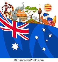 Australia background design. Australian traditional symbols...
