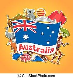 Australia background design. Australian traditional sticker...