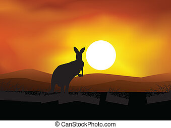 Australia background with kangaroo