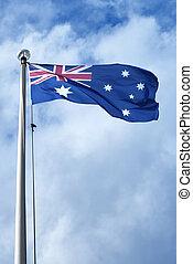 australia bandera, dmuchając w wietrze