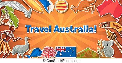 Australia banner design. Australian traditional sticker...