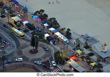 australia, beachfront, -, paradiso surfisti, mercati