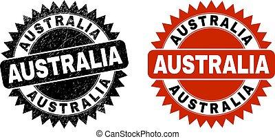 AUSTRALIA Black Rosette Seal with Grunge Texture