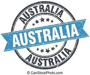 Australia blue round grunge vintage ribbon stamp