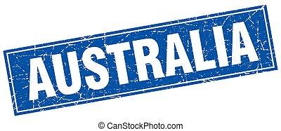 Australia blue square grunge vintage isolated stamp