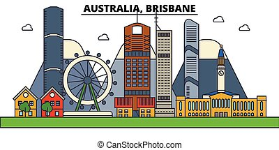 Australia, Brisbane. City skyline architecture, buildings, streets, silhouette, landscape, panorama, landmarks. Editable strokes. Flat design line vector illustration concept. Isolated icons set