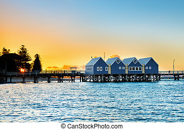 australia, busselton, occidental, de madera, embarcadero, ...
