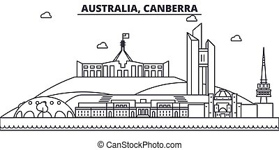 Australia, Canberra architecture line skyline illustration....