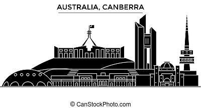 Australia, Canberra architecture vector city skyline, travel...
