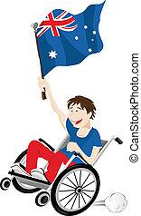 australia, carrozzella, bandiera, ventilatore, sport, sostenitore