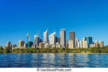 australia, central, zona comercial, -, contorno, sydney