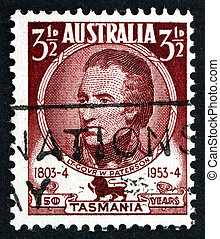 AUSTRALIA - CIRCA 1953: a stamp printed in the Australia shows Lieutenant Governor William Paterson, Soldier, Explorer and Botanist, circa 1953