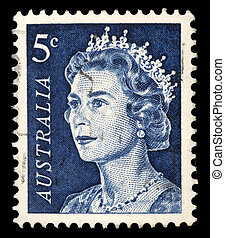 A stamp printed in Australia shows a portrait of Queen ...