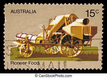 A stamp printed by Australia honoring Australian Pioneer...