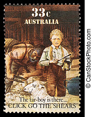 A stamp printed in Australia shows sheepshearing, Tar-boy is...
