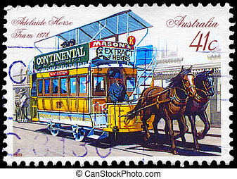 AUSTRALIA - CIRCA 1989 Horse-drawn Tram - AUSTRALIA - CIRCA...