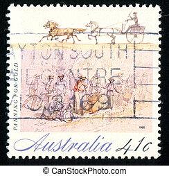 Gold Rush - AUSTRALIA - CIRCA 1990: stamp printed by ...