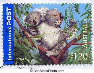 AUSTRALIA - CIRCA 2005: stamp printed by Australia, shows Bush Wildlife, Koala, circa 2005