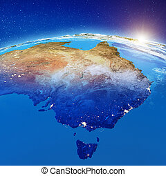 Australia city lights. Elements of this image furnished by ...