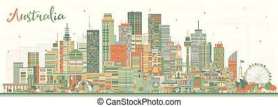 Australia City Skyline with Color Buildings.
