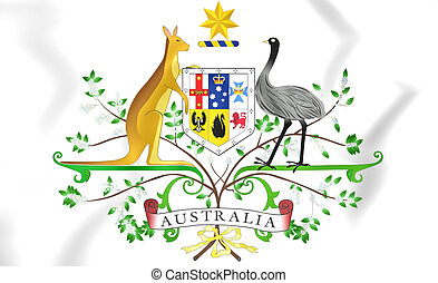Australia Coat of Arms. 3D Illustration.