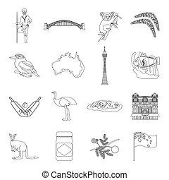 australia, conjunto, contorno, iconos, grande, símbolo, ...