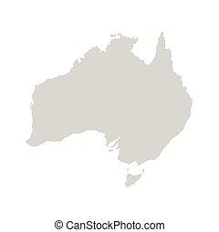 Australia continent. Gray vector template.