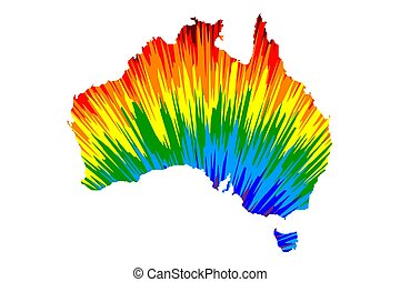 Australia continent - map is designed rainbow abstract colorful pattern