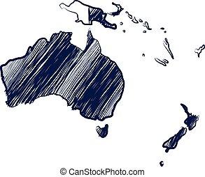 Australia continent map hand drawn background...