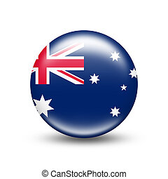 Australia country flag in sphere with shadow