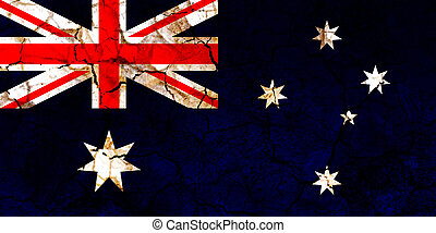 australia country flag painted on a cracked grungy wall