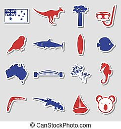 Australia country theme color stickers set eps10