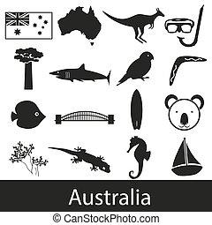 Australia country theme symbols stickers set eps10