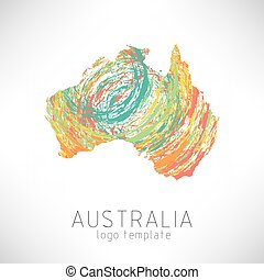 Australia creative designed silhouette map