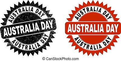 AUSTRALIA DAY Black Rosette Seal with Grunge Style