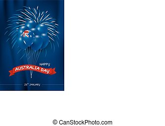 Australia day design of flag and balloon with fireworks on blue background vector illustration